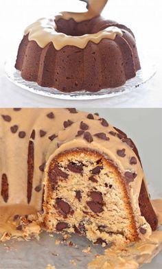Chocolate Chip & Peanut Butter Glaze Pound Cake Recipe