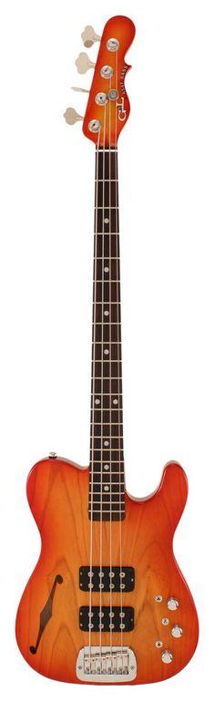 G&L ASAT Bass Guitar Semi Hollow Cherryburst