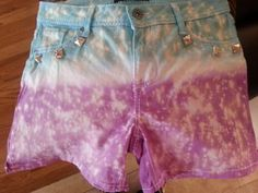 Tye Die  Dip Dye  Purple and Teal Bleached & by UniqueHeelz, $28.00