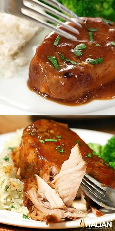 Crock Pot Pork Chops are the easiest slow cooker recipe ever. Toss and go. Toss it all in the crock pot and you return to perfectly tender, melt in your mouth pork cooked in the most spectacular sauce. It is a little sweet, a little spicy, a little barbeq Meat Recipes, Slow Cooker Recipes, Chicken Recipes, Cooking Recipes, Healthy Slow Cooker, Healthy Recipes, Cooking Videos, Slow Cooker Recipe Videos, Healthy Crock Pot Meals