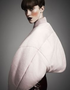Sculptural Fashion - pastel pink bomber jacket with soft padded shape // Acne