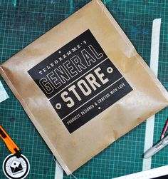 screen printed brown paper and machine stitched to form a bag
