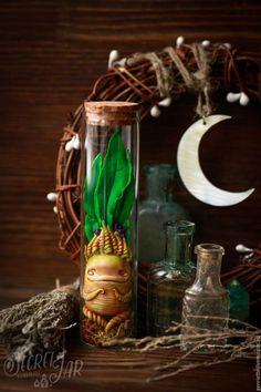 Сказочные персонажи ручной работы. Мандрагора в баночке. Secret Jar. Интернет-магазин Ярмарка Мастеров. Зеленый, персонаж, полимерная глина