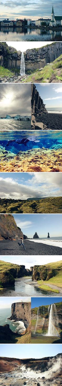 iceland  Reykjavík, Svartifoss in Skaftafell National Park, Jokulsarlon Glacier Lagoon, the black beaches of Vik, snorkeling in the Silfra Fissure, a pretty roadside view, Reynisdrangar, Fjadrargljufur Canyon, Dyrhólaey, Seljalandsfoss, and Seltún