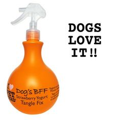 Dog's B. Tangle Fix Spray Strawberry Yogurt - This formula from Pet Head uses Essential Fatty Acids, Sunflower Seed Oil, Wheat Protein and Vitamin E to effectively detangle knots and tame fly away hairs while conditioning the skin.Dog s Pet Health, Health Care, Bff, Fly Away Hair, Matted Hair, Dog Diapers, Find Pets, Dog Grooming, Hot Sauce Bottles