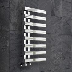 Chrome Designer Flat Panel Towel Rail Radiator Bathroom Warmer 820 x Bathroom Radiators, Bathroom Fixtures, Towel Radiator, Heated Towel Rail, Downstairs Bathroom, Wet Rooms, Chrome, Home And Garden, Stainless Steel