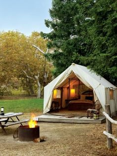I want to camp like this! What a fun little place + space in the great outdoors...