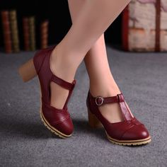 Retro shoes for women Womens Girls Cuban Heel Retro Vintage T-Strap Mary Jane Spring Shoes Mary Janes, Wine Red Dress, Dress Red, T Strap Shoes, Retro Mode, Plus Size Kleidung, Retro Shoes, Spring Shoes, Beautiful Shoes