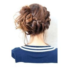 Asymmetrical braid and messy bun ❤ liked on Polyvore featuring accessories, hair accessories and hair
