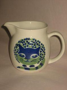 Arabia Finland Kaj Franck Cat Pitcher Blue Green by 23burtonavenue, $85.00