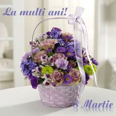 Lavender and lovely, our fresh-packed Greeting Basket features alstroemeria, roses, daisies, mums and more! Product ID: 1265 Floral Centerpieces, Floral Arrangements, Birthday Flower Delivery, 8 Martie, Most Beautiful Flowers, Beautiful Bouquets, Valentine Day Special, Pink Orchids, Mylar Balloons