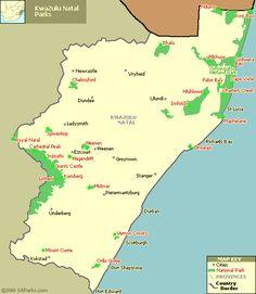 Map of KwaZulu Natal National Parks