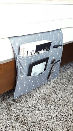 Bedside Caddy Bedroom Pocket Organizer With Free Coordinating Bookmark