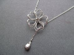 Sterling silver LOVE Lariat Heart Petals Flower by BlueDoveStudio, $29.50