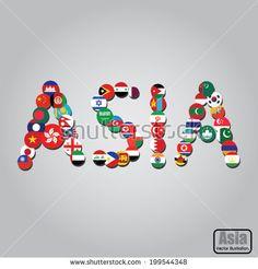 Asia flag design. Vector illustration.