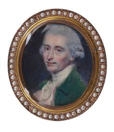 A PORTRAIT MINIATURE OF WILLIAM ROBINSON, ENGLISH SCHOOL, LATE 18TH CENTURY after John Smart (circa 1740-1811), the man with powdered wig 'en queue' and green coat, on ivory, gilt-copper frame set with seed pearls, reverse with a panel of plaited hair and inscribed to the rim: William Robinson, Born 1757, Died 1834 oval 4.4cm