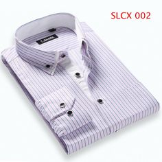 Slim Fit Casual Shirt Long Sleeve Turn-Down Collar Plaid Striped 5XL Plus Size Mens Shirts 8 Colors