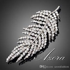 Azora Platinum Plated Stellux Transparent Österreichischen Kristall Blätter Design Pin Brosche Tp0007 Von