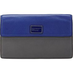 Marc by Marc Jacobs Nifty Gifty Jemma Clutch ($159) ❤ liked on Polyvore featuring bags, handbags, clutches, blue, marc by marc jacobs handbags, gunmetal handbag, blue clutches, color block purse and blue handbags