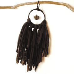 Mysterious and cool Raw Black Tourmaline crystal dreamcatcher. Handmade with silk chiffon and Reiki vibes. Hang in any home or work space to boost protection. Now added to the online shop. ✨🌙