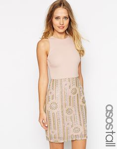 Image 1 of ASOS TALL Iridescent Geo Sequin Scuba Top Body-Conscious Dress