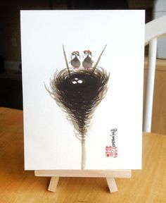 #Chinese #Bird Nest #Painting Animal Nature Lover by MoyanFineArt