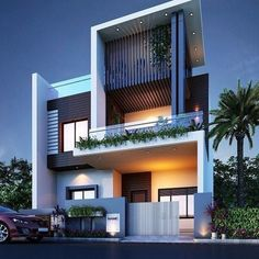 The modern home exterior design is the most popular among new house owners and those who intend to become the owner of a modern house. Single Floor House Design, Townhouse Designs, Bungalow House Design, House Front Design, Modern House Design, 10 Marla House Plan, House Architecture Styles, Architecture Design, Modern Bungalow Exterior