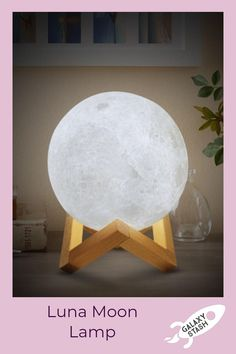 Print Moon LED Night Lamp for Home Decoration - Leloye Led Night Lamp, Cozy Decor, Wooden Stand, Night Lamp For Bedroom, Night Lamps, Home Decor, Bedroom Decor, Moon Nightlight, Night Light