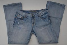 AMERICAN EAGLE Jeans Hipster Size 6 Short Light Distressed Wash #AmericanEagle #Flare