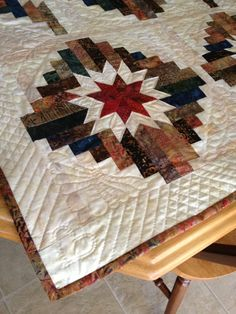 Hand Quilted variation on Judy Martin's Log Cabin Star pattern.