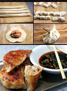 How to Make Asian Dumplings and Potstickers from Scratch. So Fun, Easy and Delicious! – How to Make Asian Dumplings and Potstickers from Scratch. So Fun, Easy and Delicious! Great Recipes, Favorite Recipes, Yummy Food, Tasty, Asian Cooking, Cooking Salmon, I Love Food, Asian Recipes, Asian Foods