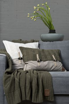 Pillows & plaid by Knit Factory - In green & white. Modern & natural looks for the home by ww.knitfactory.nl