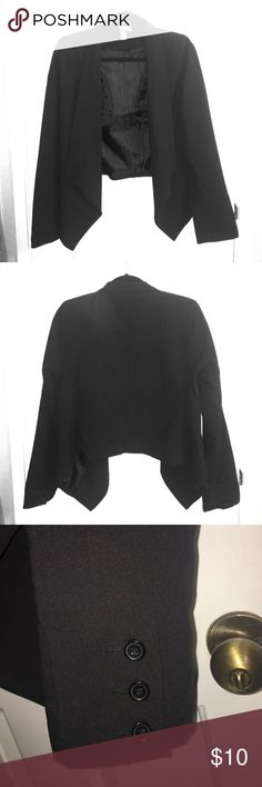 "Forever 21 Black Draped-Front Blazer F21 black blazer. Worn once. Three buttons on each sleeve. Padded shoulders.   Will need to be ironed and some marks (seen in picture with the buttons) but nothing that can't be wiped off.  Shortest length: 20""  Longest length (draping): 26"" Sleeve length: 24"" Forever 21 Jackets & Coats Blazers"