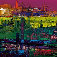 *Faszination Hamburg – Cap San Diego (Design 123) – Digital Collage.*  Hamburg PopArt - kreative und ungewöhnliche Ansichten auf die Hauptstadt des...