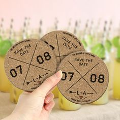 Custom design rustic themed Save the Date coasters.  Created by www.invitedto.co.uk