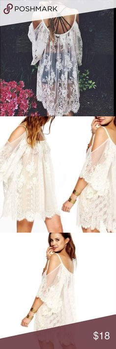 Boho Lace Top🎀 Flowy and Romantic Gorgeous Lace top with open shoulders!! Can be worn in several different ways!! Wear out with a caged bra or tank underneath, wear as a coverup or will look Stunning just worn in the house😜💕Available in white, sizes S,M,and L Tops Blouses