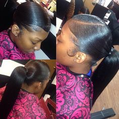 ⚠️ is the plug for more poppin' ass pins ⚡️ PLEASE give me my credit ‼️ Black Ponytail Hairstyles, Hair Ponytail Styles, Afro Hairstyles, Quick Hairstyles, Love Hair, Gorgeous Hair, Beautiful, Slick Ponytail, Natural Hair Styles