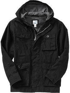 Boys Hooded Military-Style Canvas Jackets - this would be a good winter coat/jacket