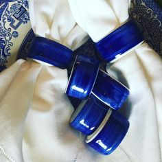 "Set of 6. Blue and white porcelain napkin rings. $30  Comment ""sold"" and Leave your email and zip to purchase. #shopthealist"
