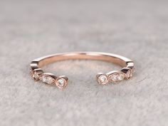 Diamond Wedding ring,Rose/Yellow/White Gold.Every Jewelry in my store needs making to order. ------ Item details: Solid 14K Rose Gold(Gold color can be made in white/yellow/rose) Size 5.5#(Ring can be resized) Band width approx 2.2mm 0.1ctw Round Cut SI-H Natural Conflict Free Diamonds. Prong,Bezel Set Other feature:Comfortable fit Market Retail Price: $1200 See this ring in white gold please visit: ------ For the gemstone ring,it can be made of Morganite,Moissanite, Aquamarine, Em...