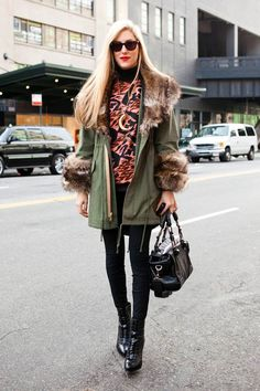 LOVE the Venezia jacket and boots by Alexandre Birman...The contrast of army green canvas and fur!!