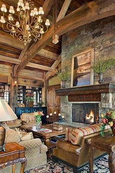 Everything tied together in this timber frame home.  Reclaimed barn wood ceiling adds to the rustic feel