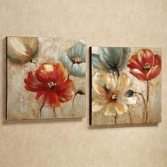 Joyful Garden Floral Canvas Wall Art Set Joyful Garden Canvas Art Set Russet Set of Two Flower Canvas, Flower Art, Art Flowers, Diy Flower, Homemade Canvas Art, Floral Wall Art, Wall Canvas, Diy Canvas, Large Canvas