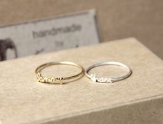 Initial name ring Handwriting font - Sterling silver - Christmas idea??