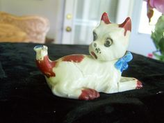 Puppy Dog Figure Figurine with Fly on Tail Vintage Japan Porcelain