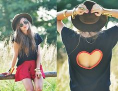 Heart Shape Cut Out T-shirt