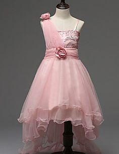 fb60bbd9af Menina de Vestido Floral Algodão   Poliéster Todas as Estações Rosa    Vermelho   Branco Vestidos