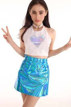 Image of Made To Order - Holo Heart Halter Top in White