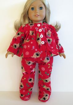 American Girl Doll Clothes - Christmas Flannel PJs and Slippers