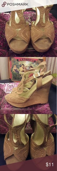 Camel Cut-out Faux Suede Wedges! Compliments galore when worn! In great condition. Comfy, lightweight  wedges you can wear all day! Sbicca Shoes Wedges